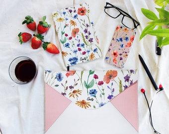 Floral pink clutch bag, envelope clutch, leather handbag, marble clutch bag,macbook sleeve 13,laptop 13 sleeve,macbook 13 case,laptop bag