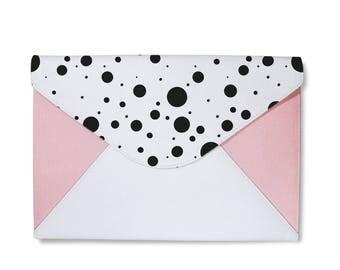 Monogram Polkadot pink clutch bag, envelope clutch, leather handbag, marble clutch bag,macbook sleeve 13,laptop 13 sleeve,macbook 13 case