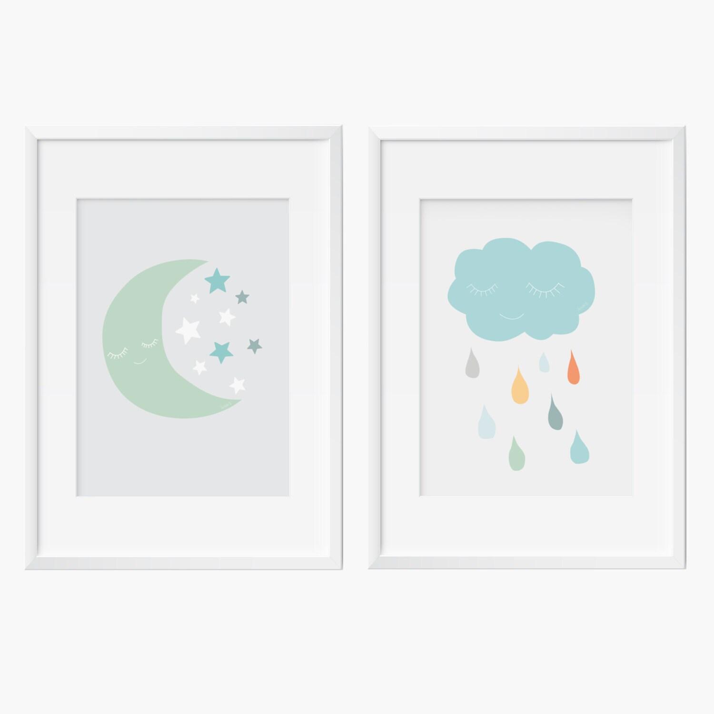 2 Affiches Nuage lune et etoiles 2 posters nuage et lune