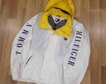 Tommy Hilfiger jacket, vintage Tommy jacket of 90s hip-hop clothing, 1990s hip hop college sailing jacket, OG, gangsta rap, size XL