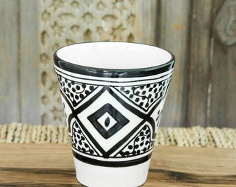 Set of two Moroccan Coffee Cups - Black and white