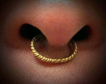 Fulani Gold Twisted Nose Rings- Tribal Nose Ring- Fulani Gold Hoop Nose Ring - Septum Nose Ring- Peul Nose Ring