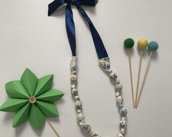 Fabric Beaded Necklace- Blue Floral