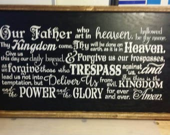 Our Father Who Art In Heaven  Wooden Sign / Wall Decor / Gift