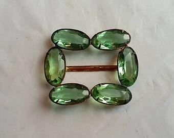 1920's Woman's Belt Buckle Czechoslovakian Green Glass Stones