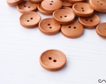 NEW 20mm Natural Round Wooden Buttons Brown 2-Holes Sewing Embellishments Craft