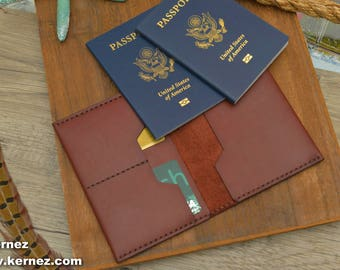2 Passport Wallet, Multiple Passport Holder, Double Passport Wallet, Passport Keeper for Two Passports, Personalized Dual Passport Wallet