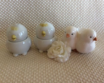 Vintage ceramic eggcups Easter egg holder salt pepper shaker