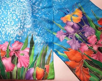 "Silk scarf "" Irises """