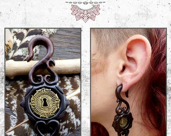 Earring wood ethnic fairy tribal trance Bohemia Amazon gipsy roots
