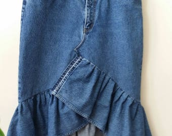 Women's Reconstructed Asymmetrical DENIM RUFFLE SKIRT, Size 13/14