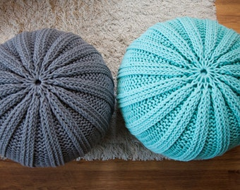Knitted pouf / ottoman WAVES 47 colors