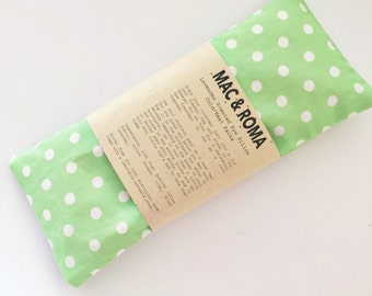 Lavender Scented Eye Pillow Cool / Heat Packs Green White Spots