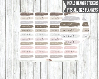 Watercolour Brush Stroke Meals Header Planner Stickers | Erin Condren Happy Planner Bullet Journals Bujo