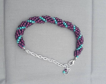 Turquoise and plum spiral stitch bracelet