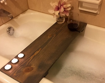 Bath Tub Caddy With Wine Holder and Tea Lights