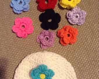 Baby Girl, Crochet Flower Baby, hat with interchangeable  flowers set