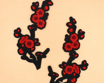 Plum Blossom Patch Iron on Patch Large Patch DIY Patch Embroidered Patch Applique Embroidery 10.5x20.5cm