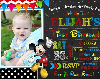 Mickey Mouse Invitation Printable, Mickey Mouse Birthday Party