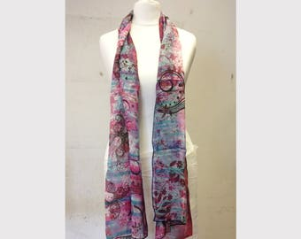 Purple Butterfly silk chiffon scarf