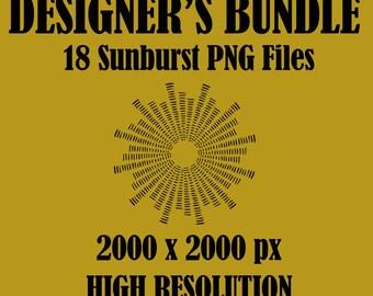 18 SUNBURST BUNDLE FILES – Instant download – Graphic Design Bundle, Sunburst Shapes, Commercial use - Clip art