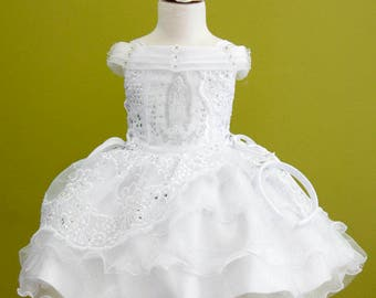 Girls White Baptism Gown Dress Corset Embroidered Virgen Maria Detachable Skirt Dress/ Vestido Bordado con Virgen Maria Desmontables