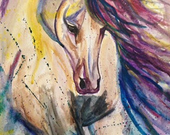 Original Abstract Horse Watercolor Painting