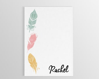 Feather Notepad ~ Personalized Feather Stationary ~ Name Notepad ~ Custom Notepad ~ Custom Gift ~ Stationary ~ To Do List