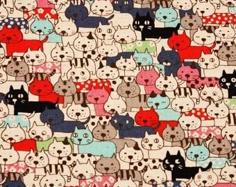 Animal) Cats Kitten Cotton&Linen Fabric made in Japan, Kobayashi fabric by Half Yard
