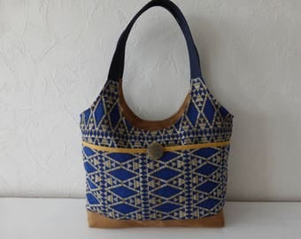 Handbag, jacquard, blue and ochre, ethnic, chic fabrics