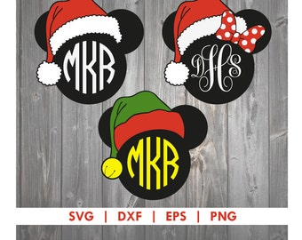 Christmas Mickey Minnie Mouse Disney Santa Claus Elf SVG DXF EPS Cut File
