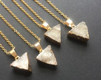 Druzy pendant, Triangle druzy necklace, Raw stone, Druzy necklace, Natural druzy