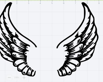 Angel Wings Monogram SVG EPS DXF Studio 3 Cut Files