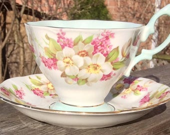Pretty in Pink-Flower Power-Royal Albert Pedestal Teacup and Saucer