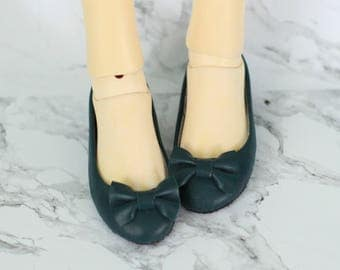 bjd shoes: deep green flat shoes for 1/3 SD doll