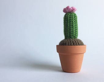 Crochet Cactus with Pink Flower in a Terracotta Pot - Amigurumi Cactus [Ready to ship]