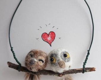 Tiny Owls. Felt Owls. Needle Felted Owls. Love Birds. Needle Felt Animal. Felt Decoration. Hanging Decoration. Needle Felting. Felt Birds.