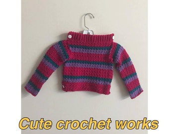Crochet toddler sweater,winter dress,sweater,handmade crochet sweater size 4t,4t girl dress,gifts for christmas