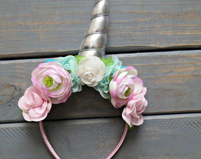 Unicorn Floral Crown, Silver Unicorn, Unicorn Birthday Headband, Floral Headband, Gifts For Girls