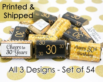 Gold and Black Happy 30th Birthday Party Favors - 30th Birthday Decor - 30th Birthday Party Supplies - Cheers to 30 Years Old - 54 Stickers