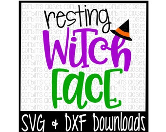 Halloween SVG * Resting Witch Face Cut File - SVG & DXF Files - Silhouette Cameo/Cricut