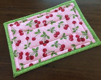 Large Rectangle Hot Pad, 9x13, Trivet, Quilted Insulated hot pad, Customizable, Cherry Fabric, Kitchen Decor,Fruit and Vegetable Decor