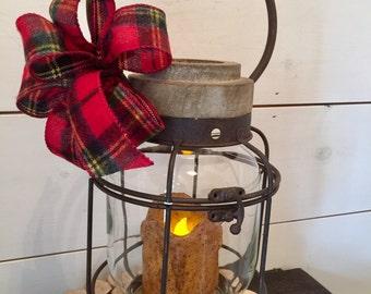 Rustic lantern, flannel bow, grungy candle, pillar candle holder, holiday lantern, farmhouse decor, christmas decor, gift, candleholder