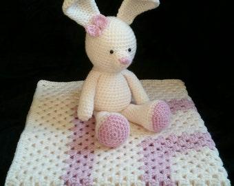 Baby Blanket Crochet   Baby Shower Gift   Stroller Blanket   Baby Girl Blanket   Granny Square Blanket   Cream Pink   Pram Blanket   Crochet