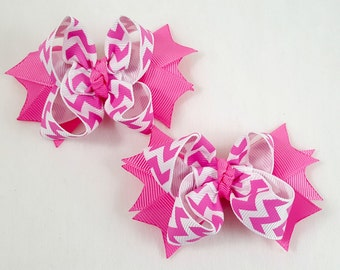 Hot Pink Mini Hair Bows-Set of 2/Hair Accessories/Little Girl Hair Bow/Toddler Hair Bow/Tween Bows /Pig Tails/Pink Hair Bow/Stack Hair Bow