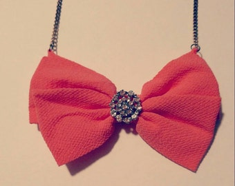Coral bow necklace