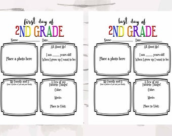 First and Last 2nd Grade Activity Sheet, Back to school and End of the year activity, 8x11 pdfs instant download