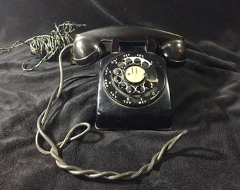 Vintage Black Rotary Telephone Bell System, Western Electric