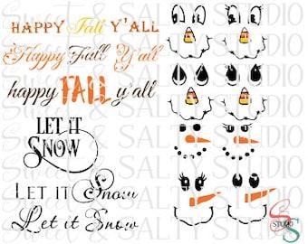 scarecrow snowman template bundle digital file