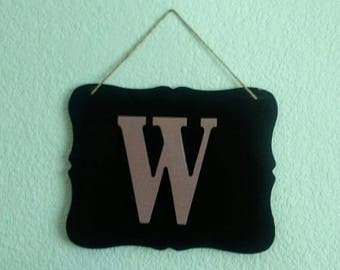 SALE Chalkboard Family Name Letter Wall Decor Hanging Sign